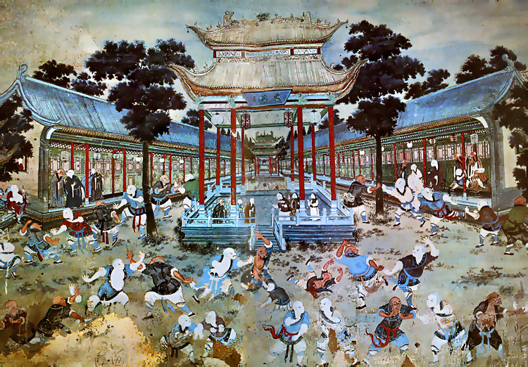 A mural at the Shaolin Temple showing monks practicing Cross Roads at Four Gates